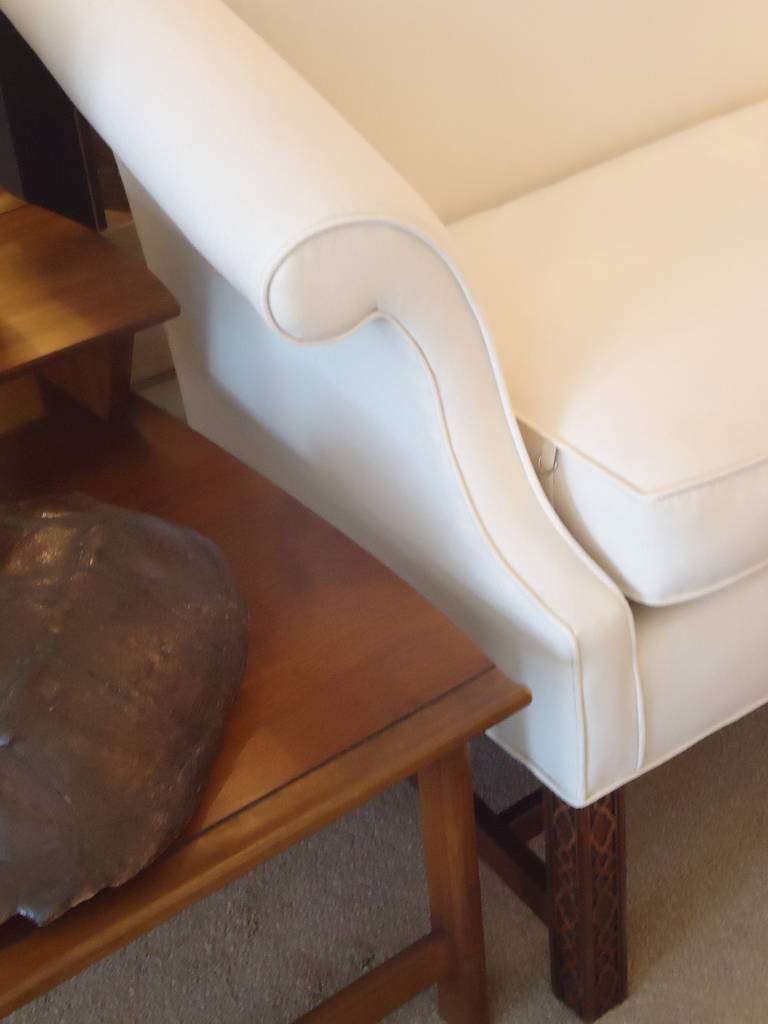 Pair Of Camel Back, Chinese Chippendale Sofa Loveseats At