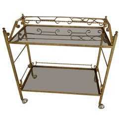 Vintage Italian Gilded Iron Bar Cart