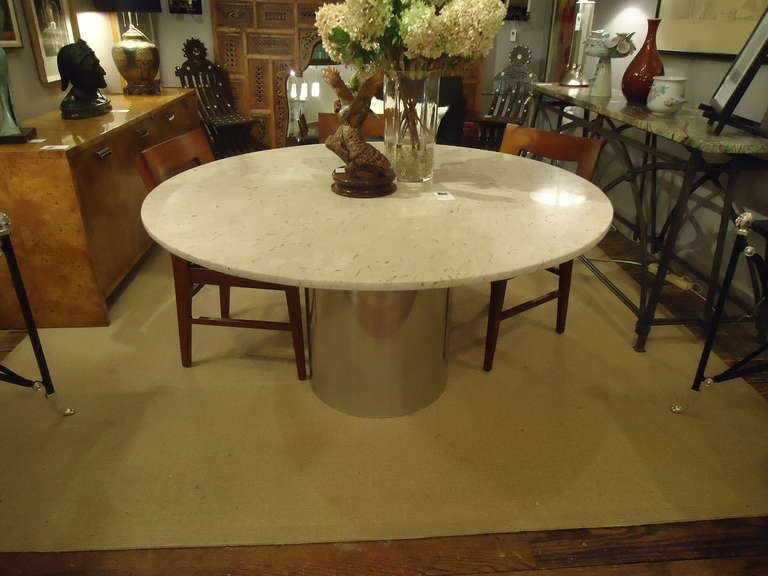 Round Italian Marble And Steel Dining Table 3
