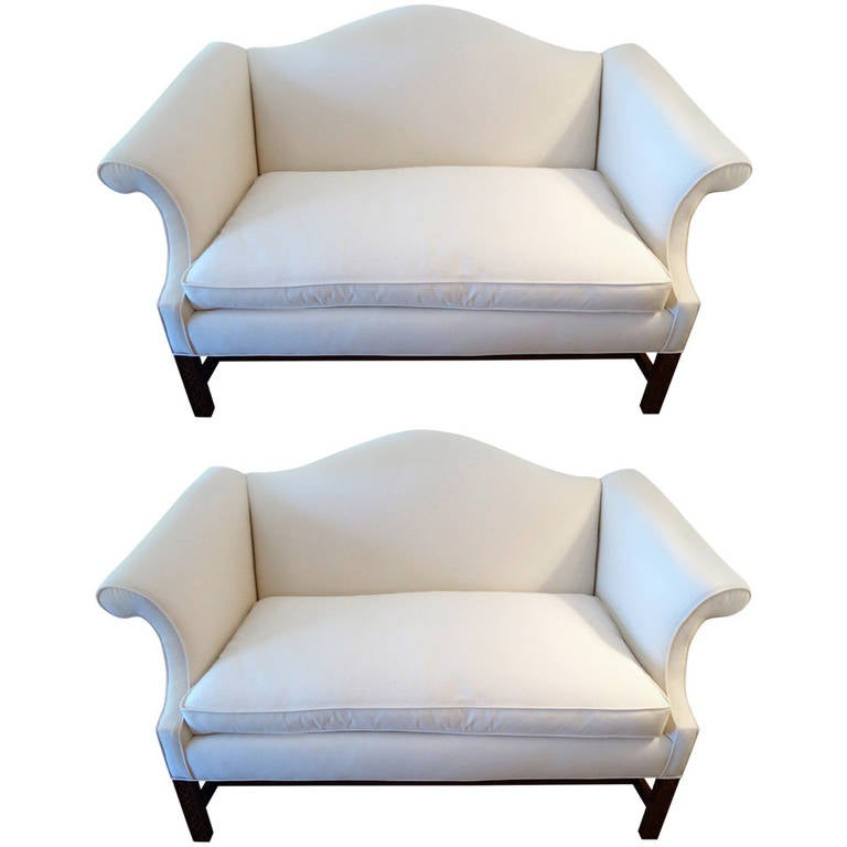 Pair of camel back chinese chippendale sofa loveseats at for Chinese style sofa