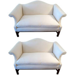 Pair of Camel Back, Chinese Chippendale Sofa Loveseats