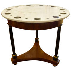 Regency Style Burl, Ebonized Wood and Marble-Topped Round Table