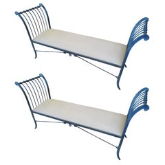 Pair of Stunning Neoclassical Iron Window Benches by Niermann Weeks