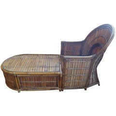Rare Bamboo Art Deco Style Chaise Lounge