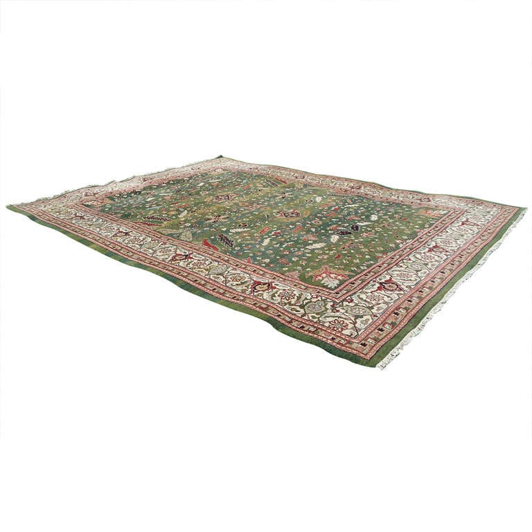 Large Wool Heriz Indian Rug