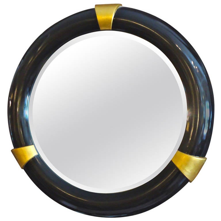 Karl springer style big regency style black and gold round for Large round gold mirror