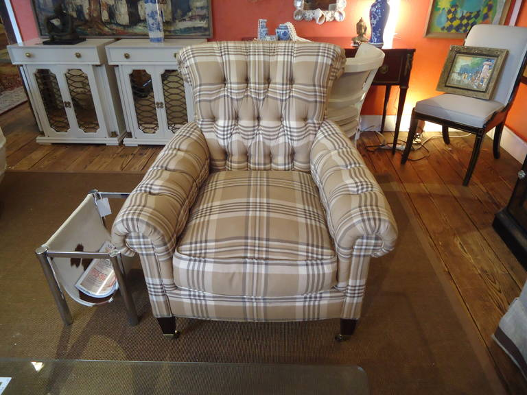Big Welcoming Easy Chair In Classic Ralph Lauren Style And Camel, Brown And  Cream Plaid