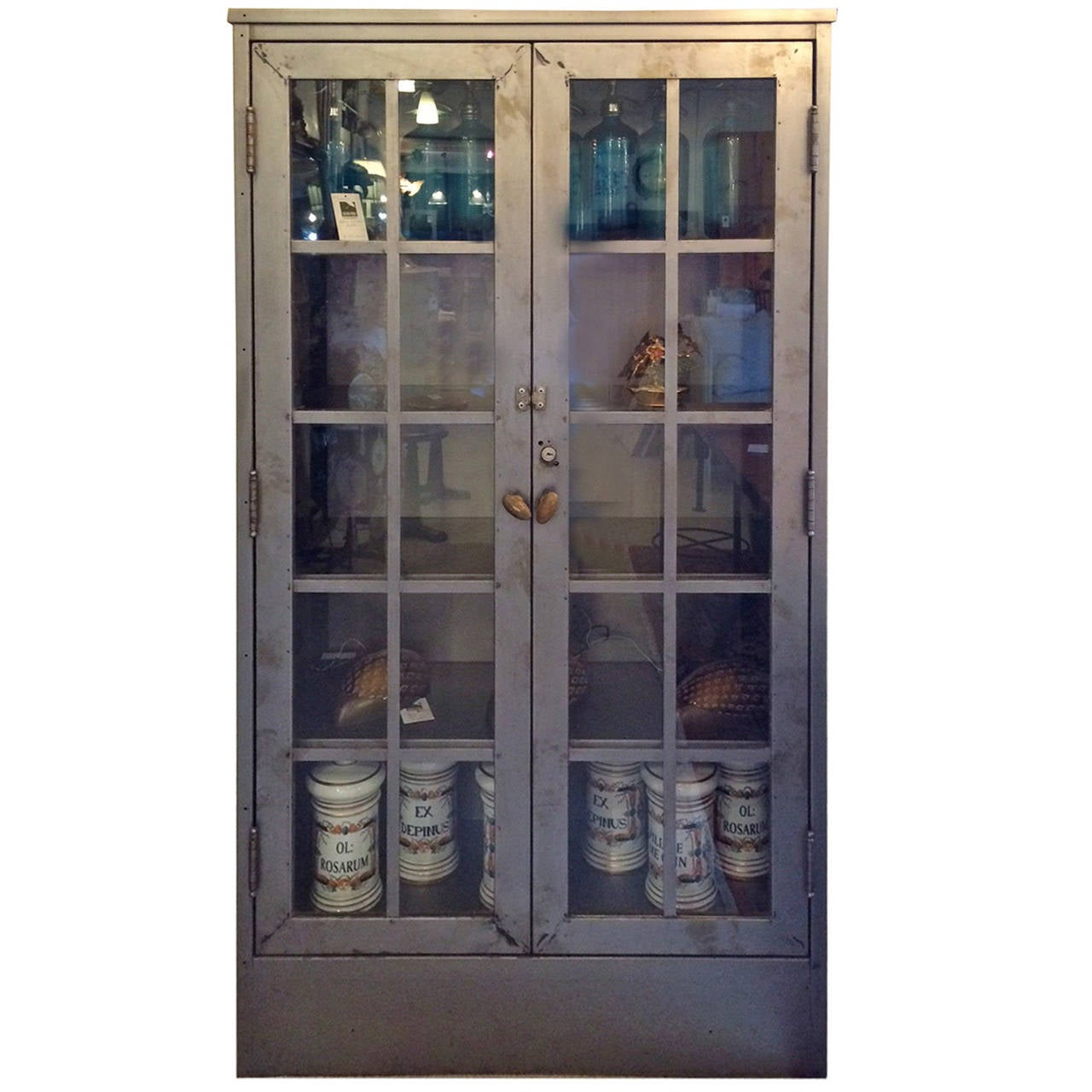 Double door steel and glass industrial cabinet at 1stdibs Glass cabinet doors