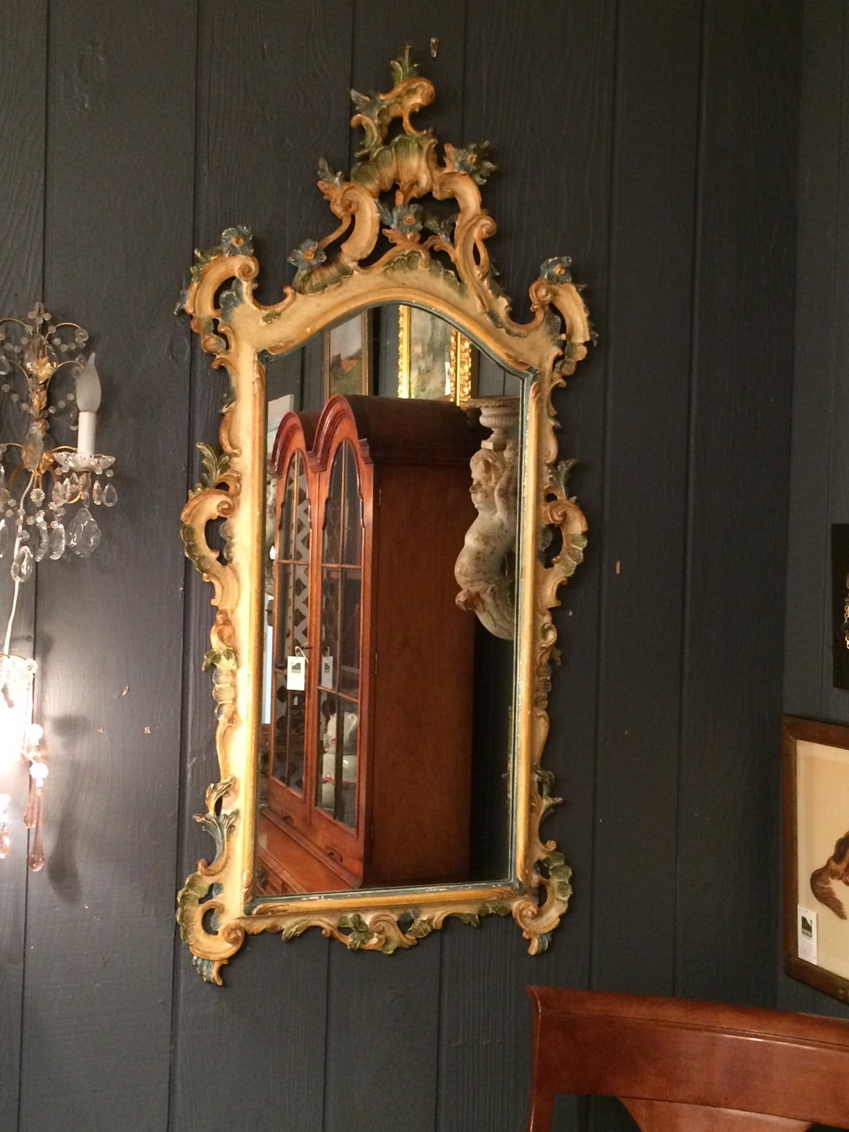 Italian Vintage Hand Painted Carved Wood Mirror At 1stdibs