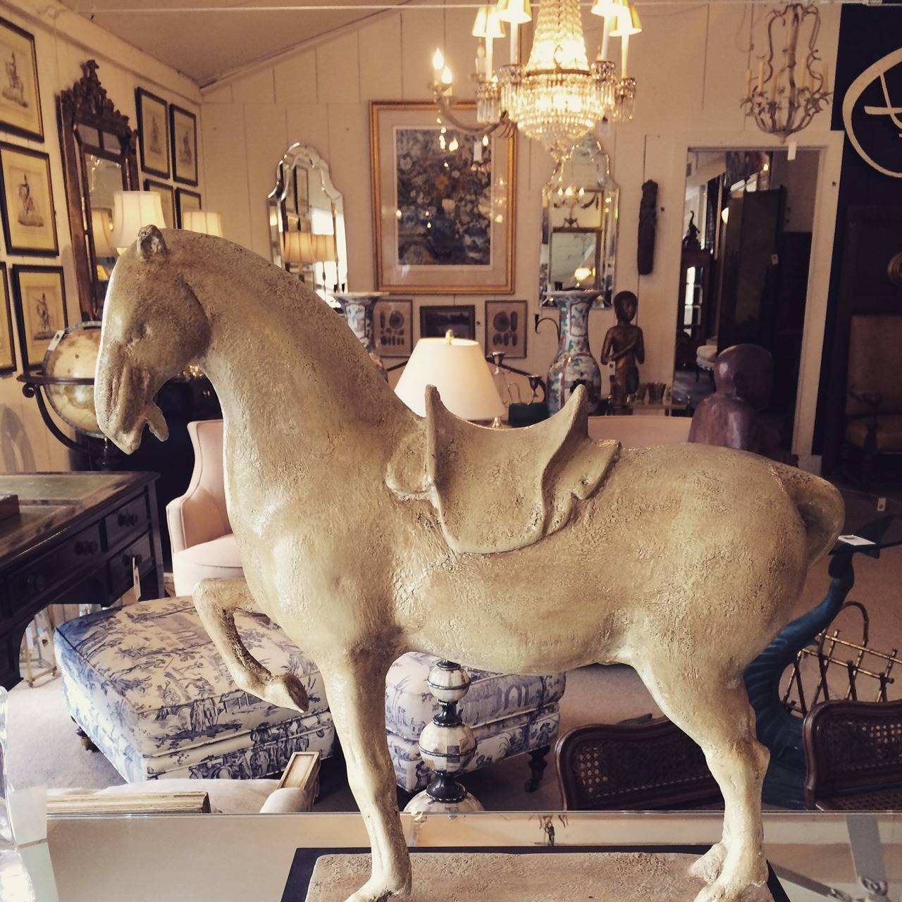 Unknown Impressive Painted Metal Sculpture of a Horse For Sale
