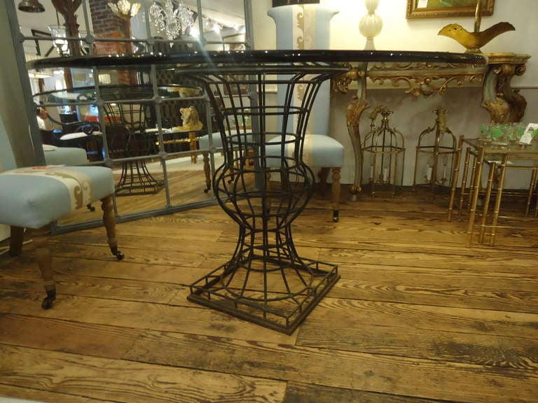 Iron topiary urn based dining center hall table at 1stdibs for Dining hall furniture