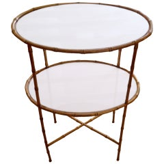 Elegant Maison Bagues Two-Tier Bronze and Milk Glass Side Table