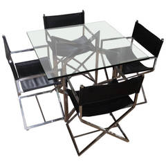 Set of Mid-Century Modern Square Glass Table and Chairs