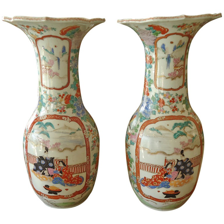 Pair of 19th Century Fukagawa Vases For Sale