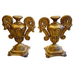 Elegant Chunky Pair of Gold Leaf Carved Wood Urn Shaped Objects