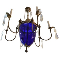 Vintage Cobalt Blue Glass and Brass Chandelier