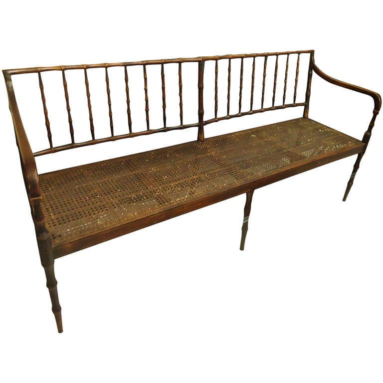 Faux Bamboo And Caned Long Bench Settee At 1stdibs