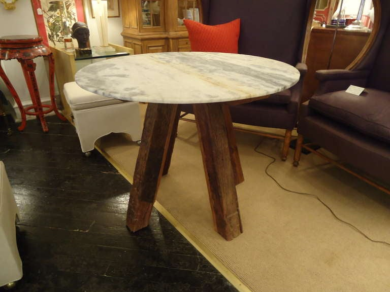 Rustic Wood Beam And Raw Marble Round Table At 1stdibs