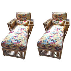 Pair of Bielecky Brothers Rattan Chaise Lounges