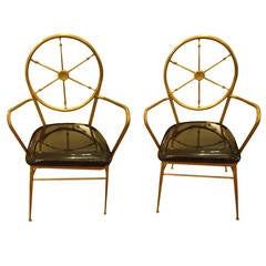 Rare Pair of Mid-Century Modern Brass and Patent Leather Chairs