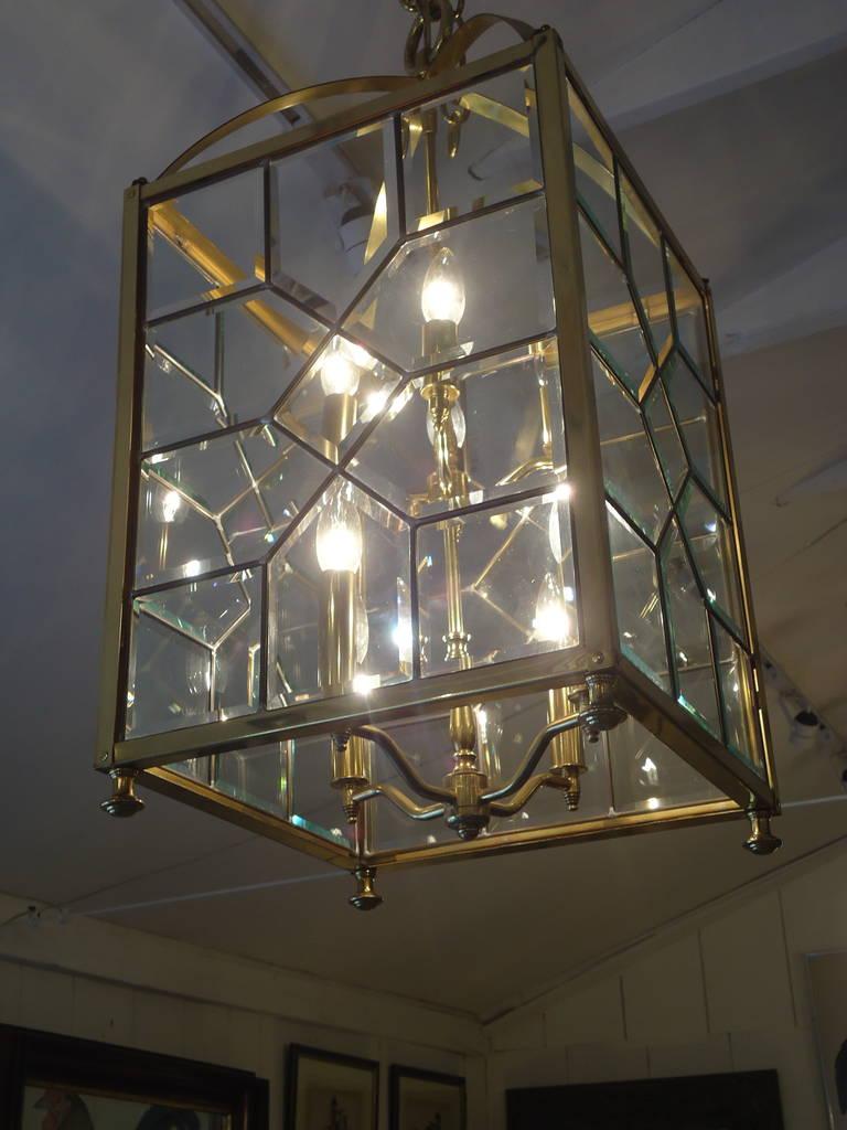 Mid century modern brass and bevelled glass lantern chandelier at american mid century modern brass and bevelled glass lantern chandelier for sale aloadofball Choice Image