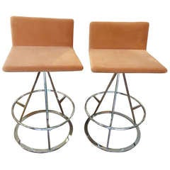 Four Ultra Suede and Chrome Midcentury Modern Barstools