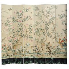 Huge Six-Panel Gracie Silk Hand-Painted Wallpaper Screen