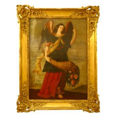 Antique Oil Painting of Female Angel