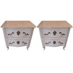 Pair of French Vintage Two-Drawer Night Tables Stands