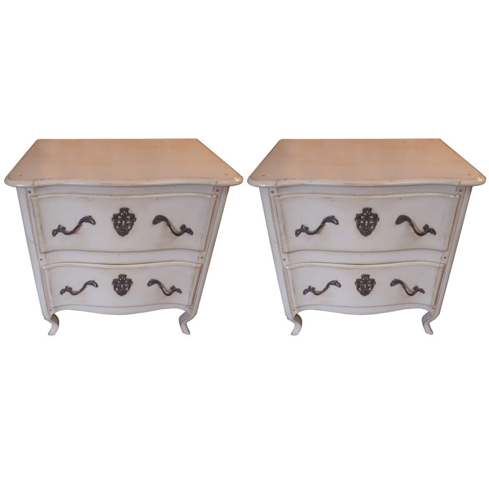 Pair of French Vintage Two-Drawer Nightstands Chests