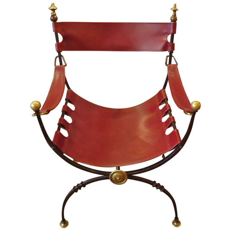 Savonarola Iron Brass and Leather Chair For Sale