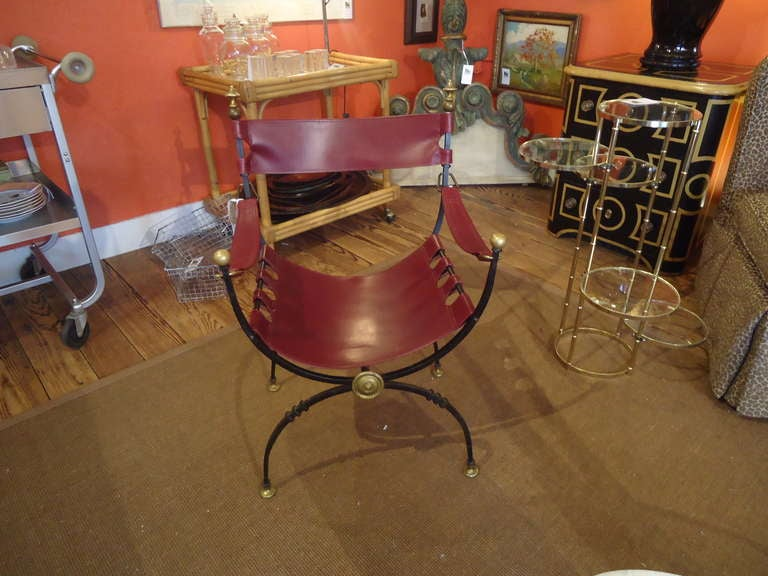 Italian Savonarola Iron Brass and Leather Chair For Sale