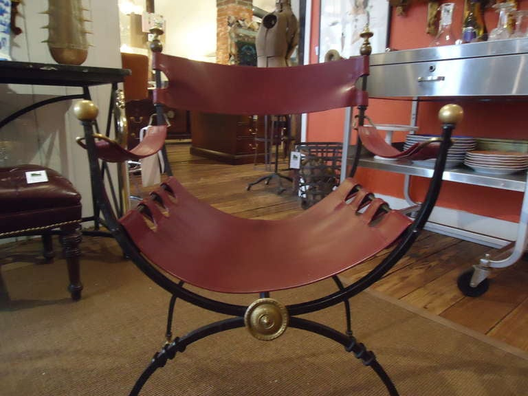 Mid-20th Century Savonarola Iron Brass and Leather Chair For Sale