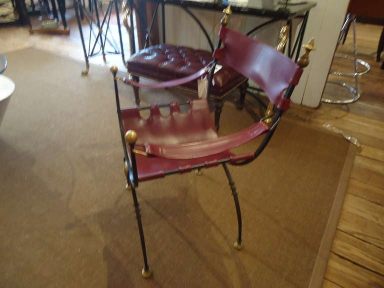 Savonarola Iron Brass and Leather Chair For Sale 1