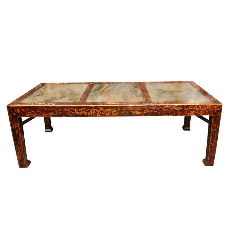 Monumental striking chinese stone and wood dining table at - Granite and wood dining table ...