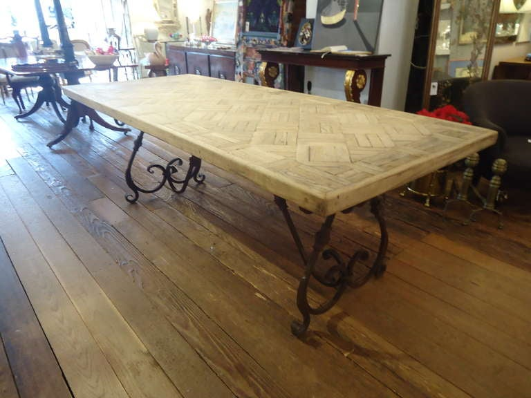 parquetry dining table with wrought iron base at 1stdibs. Black Bedroom Furniture Sets. Home Design Ideas