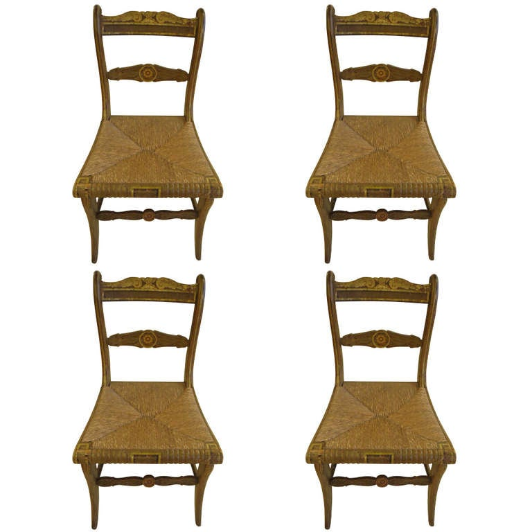 Four Charming Painted Dining Chairs with Rush Seats at 1stdibs
