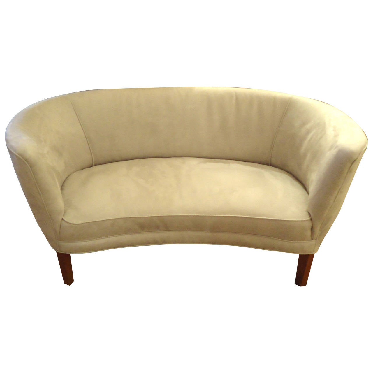 Curvy Grey Ultra Suede Loveseat Or Settee At 1stdibs