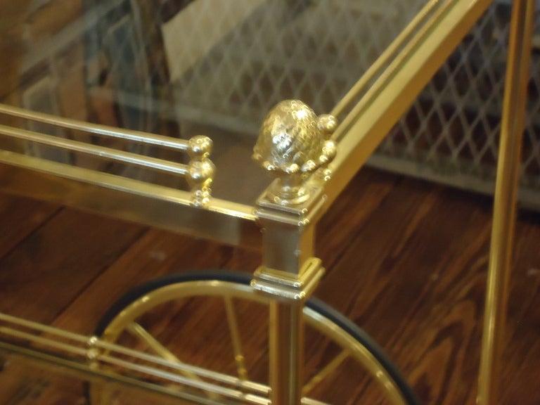 Vintage Italian Brass Regency Style Tea Cart In Excellent Condition In Hopewell, NJ
