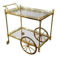 Vintage Italian Brass Regency Style Tea Cart