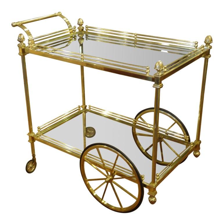 vintage italian brass regency style tea cart at 1stdibs. Black Bedroom Furniture Sets. Home Design Ideas