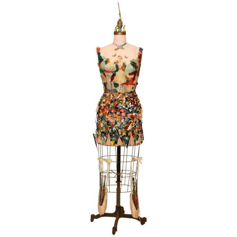 Mixed Media Vintage Dress Form Sculpture For Sale at 1stdibs