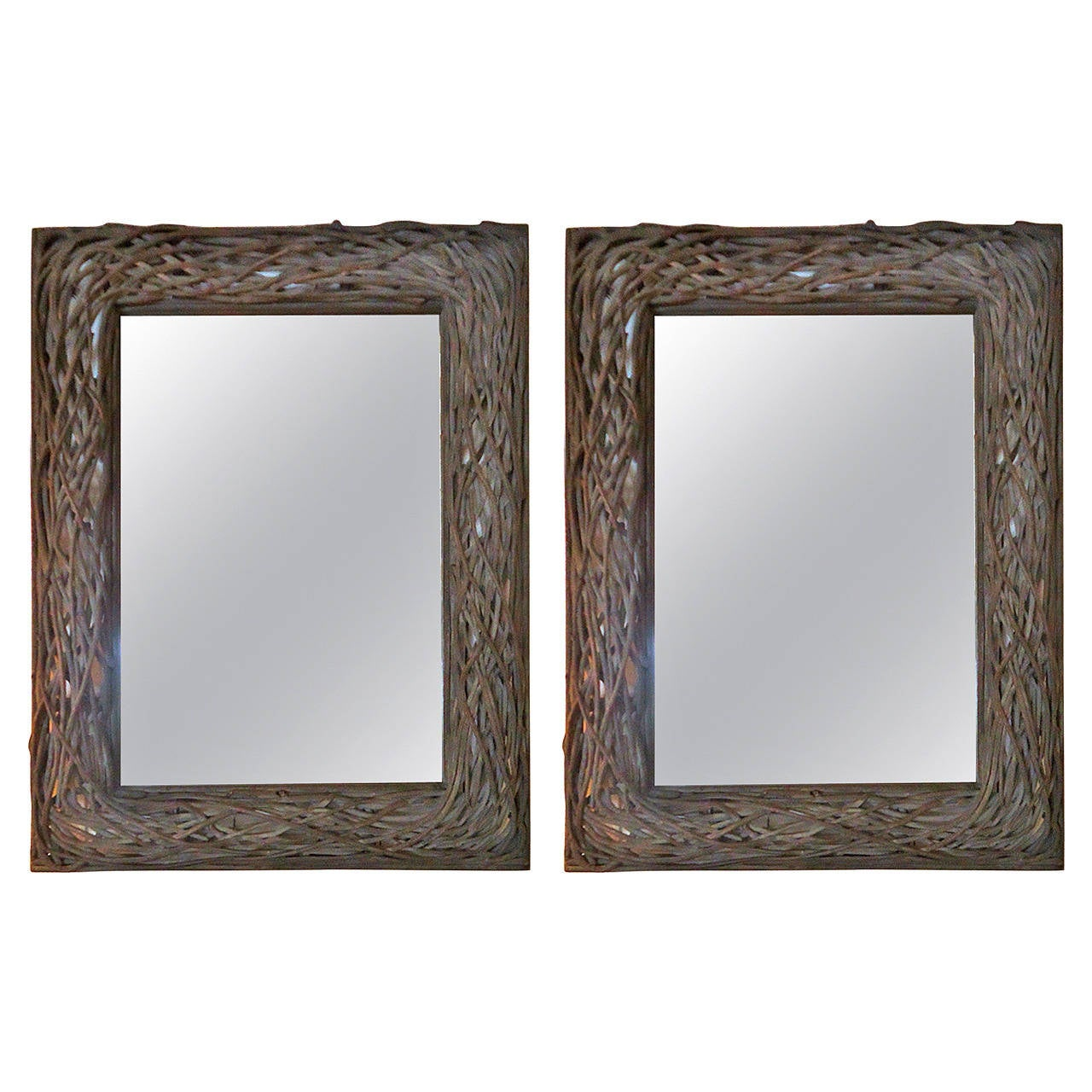 Pair of very large charcoal grey twig mirrors at 1stdibs for Long grey wall mirror