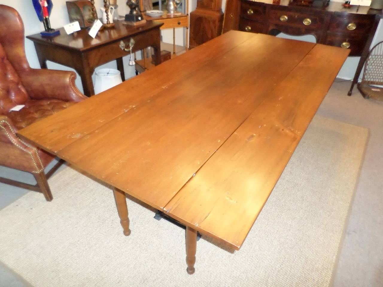 Pine And Maple Harvest Table, Pine Top And Maple Base, Probably New England  Circa