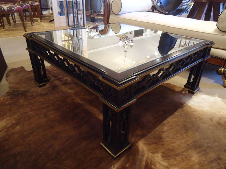 Ebonized And Giltwood Large Square Coffee Table At 1stdibs