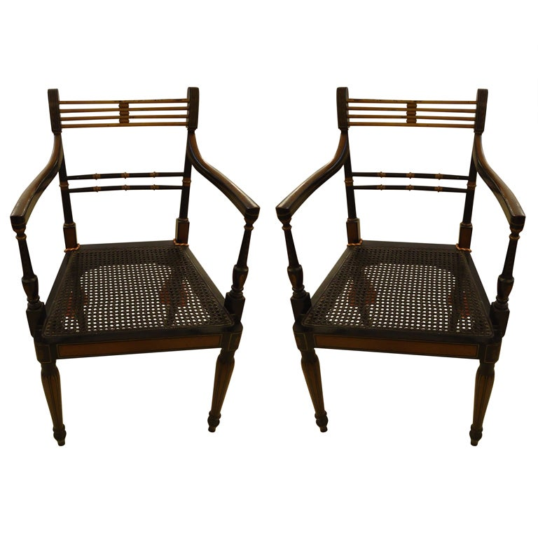 Pair Of Sheraton Style Antique Armchairs At 1stdibs