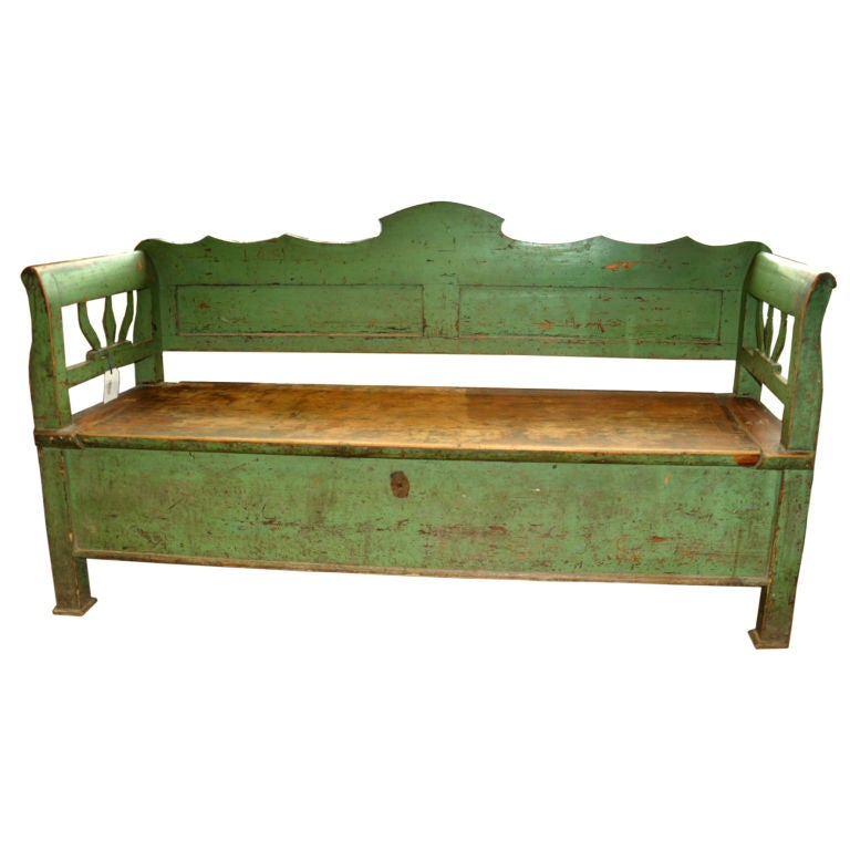 19th Century French Wooden Bench Or Trunk At 1stdibs