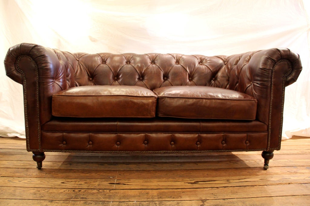 Small Leather Chesterfield Sofa At 1stdibs