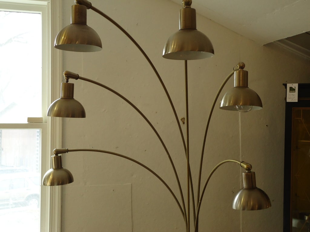 Italian Midcentury Modern Six Arm Arc Floor Lamp At 1stdibs