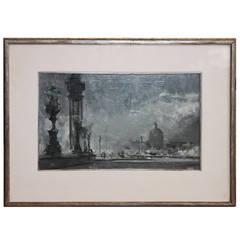 """John A. Annus Original Painting, """"Paris"""", 1960"""